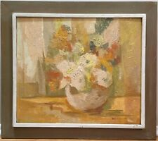 Vintage Mid Century 1968 Abstract Cubist  Impressionist  Still Life Oil Painting