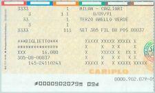 68449 - Vecchio  BIGLIETTO PARTITA CALCIO - 1990 / 1991 : MILAN /  CAGLIARI