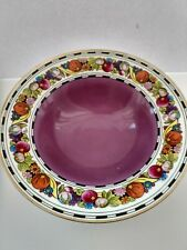 "ANTIQUE Noritake 8.5""  Serving Bowl Purple base - Multi-color Fruit design"
