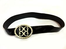 Gizia Women Real Patent Leather Belt M 28-30' Black Wide Swarovski Crystal Glam