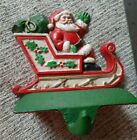 Vintage Midwest Importers Santa Sleigh Painted Cast Iron Stocking Holder    e1
