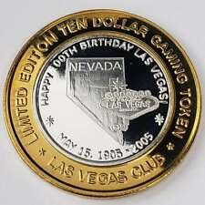 New Listing2005 G Las Vegas Club Casino .999 Silver Strike $10 100th Birthday Token 1Vc0532
