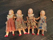 Lot Of 4 Antique Vintage Celluloid Sisters 4� Dolls Dollhouse Size Orig Clothes