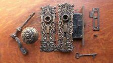 Antique Fancy Brass Renaissance Doorknob, Handle,  Doorplates, Lock 1897 Dolphin