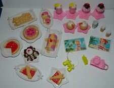 Huge 22 Piece Lot Accessories Barbie Cruise Ship 2002 Food Camera Drinks Camera