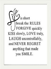 INSPIRATIONAL MOTIVATIONAL POSITIVE QUOTE LIFE IS SHORT A4 POSTER PRINT