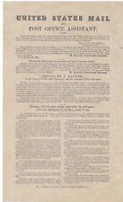 """19th Century Adv. Broadside for """"United States Mail and Post Office Assistant"""""""
