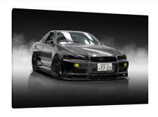 Nissan Skyline R34 GTR 30x20 Inch Canvas - Framed Picture Print Wall Art JDM