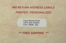 800 - Personalized Return Address Labels (Printed In Ink Color of your Choice )