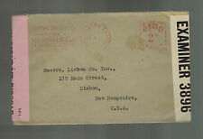 1941 Dublin Ireland Dual Censored Meter Cover to New Hampshire USA Varian