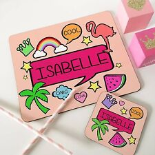 Kids Dinner Table Placemat Set & Coaster Personalised Retro Peach Style girls