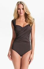 BADGLEY MISCHKA Solids Shirred Maillot One Piece Slimming Swimsuit COCOA size 8