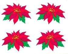 ~ Retired NLA Christmas Poinsettia Flower Green Seasonal Mrs Grossman Stickers ~