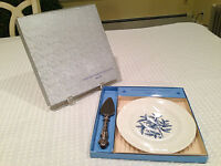 "NEW IN BOX Vintage WEDGWOOD PARTY SET Sterling Silver Server & 7"" Warwick Plate"