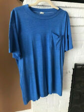 PAPER THIN BLANK WORK POCKETED WASHED OUT BLUE T - SHIRT 1970s Lg