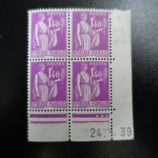 FRANCE TIMBRE TYPE PAIX N°370 COIN DATÉ 24.01.1939 NEUF ** LUXE MNH COTE 70€