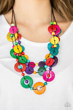 Paparazzi jewelry shell like iridescence multicolored wooden Necklace w/earring
