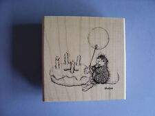 HOUSE MOUSE RUBBER STAMPS BIRTHDAY DONUT NEW wood STAMP