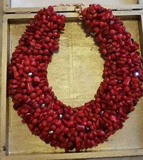 Natural Red Coral Statement Collar Necklace