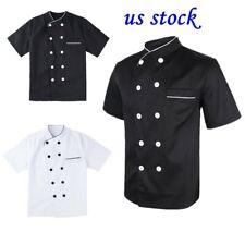 Us Men Double-Breasted Chef Coat Jacket Short Sleeve Kitchen Hotel Uniform M-3Xl