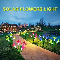 2Pcs Solar Powered Light Lily Flower Multi-Color LED Outdoor Garden Decor Lights