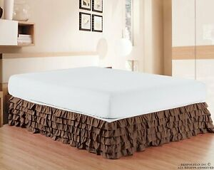 Drop Length Multi Ruffle Bed Skirt 1000 TC Egyptian Cotton US Sizes Solid Color