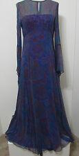 Vintage Sheer Paisley Silk Bias Cut Angel Wing Hippie Boho Festival Maxi Dress M