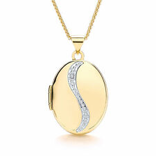 "Diamond Locket Oval Yellow Gold 18"" Chain Solid Hallmarked"