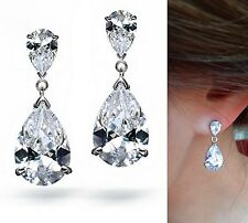 Bridal Wedding Long Teardrop Swarovski Elements Clear Crystal Silver Earrings