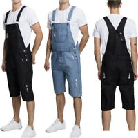 Fashion Mens Womens Denim Short Jumpsuits Bib Pants Overalls Shorts Work Jeans