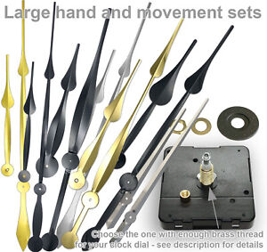 HIGH TORQUE clock movement LARGE HANDS set, perfect High Quality combo UK