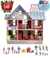 Hand-Painted Dollhouse with furniture, Family Members, Pets, Toys Boys & Girls