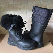 UGG Atlason Black Waterproof Leather Cuff Tall Rain Snow Boots Size 10 Womens