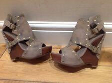 ASH Sandals Suede Wedges With Studs Size U.K. 4 Eu 37