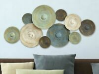 Industrial Woven Look Textured Circles Metal Wall Art Rustic Abstract Home Decor