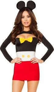 Mouse Costume Mickey Tube Dress Shrug Furry Fuzzy Ears Bow Tie 10090