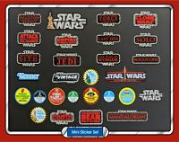 Set of 28 STAR WARS Vintage Collection toy logo & mail away mini vinyl stickers