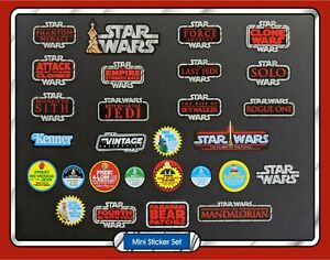 Set of28 STAR WARS Vintage Collection toy logo & mail away mini vinyl stickers