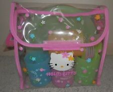 Hello Kitty 4 pc TOY Picnic  container set in carry pouch blue yellow pink 2002