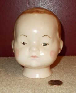 Antique Vintage Ceramic DOLL HEAD Replacement Doll Making Tie On Composite