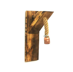 Wooden Wall Lamp Sconce With Rope Handmade Rustic Vintage Retro Lighting