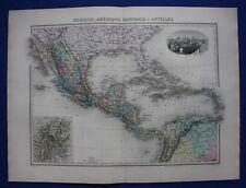 Original antique map MEXICO, CENTRAL AMERICA, ANTILLES, PANAMA, Migeon, 1891