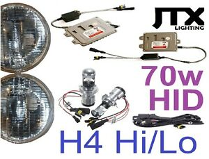 "7"" H4 Hi-Lo Headlights Lights with premium JTX 70w HID Kit for Nissan GQ Patrol"