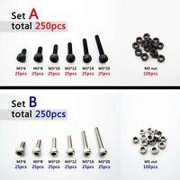 250X Assortment Kit Metric Thread M2 M3 Hexagon Head Hex Socket Cap Screw Bolt