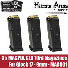 (3 pack) Magpul Glock 10rd GL9 Magazine for Glock 17 9mm Mag G17 GL-9 MAG801