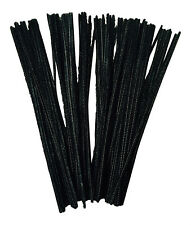 "100 BLACK Chenille Pipe Cleaners Stems  30cm Craft  12""  FREE DELIVERY"