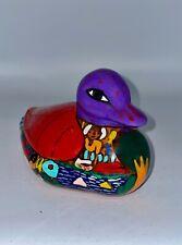 "Colorful Mexican Folk Art Pottery Duck - Oaxaca - 6"" EUC"