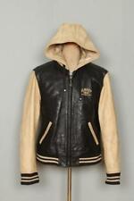 Vtg SCHOTT Hooded Leather Motorcycle Varsity Biker Jacket Medium