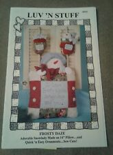 """Luv 'N Stuff Pattern 2003 Frosty Daze Snowlady on 14"""" Pillow and Quick Ornaments"""