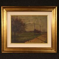 Painting oil on panel signed framework landscape antique style impressionist